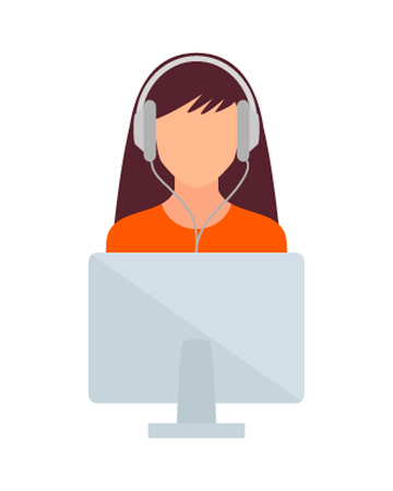 girl computer: Student girl computer and headphones illustration.