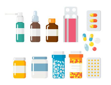 symbole chimique: Capsules pilules icônes vecteur ensemble plat. Vitamine médical pilules de vecteur de la pharmacie illustration. Pilules, gélules, médicaments, boîte et bouteille. Pills vecteur bouteille boîte. Pilules isolés icônes. Medical icons vector set Illustration