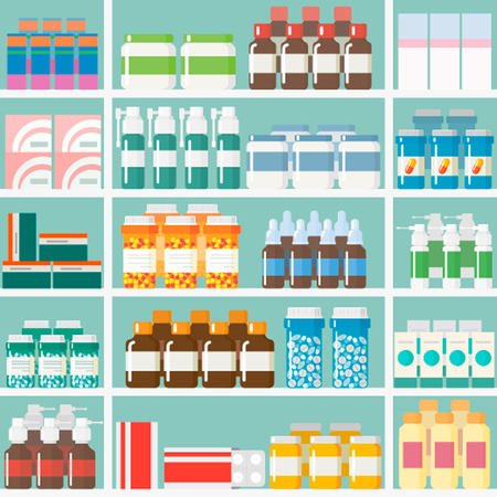 VariouVector illustrations pills and drugs Sell Display on the shelves of pharmacies. Modern flat design
