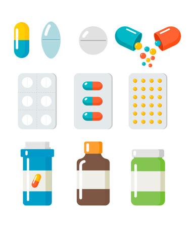 Pilules, icônes de capsules vectorielles ensemble plat.