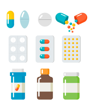 Pills, capsules icons vector flat set.