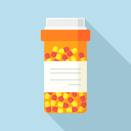 Modern pill bottle for tablets or capsules. Isolated icon on white background. Sleek style vector illustration.