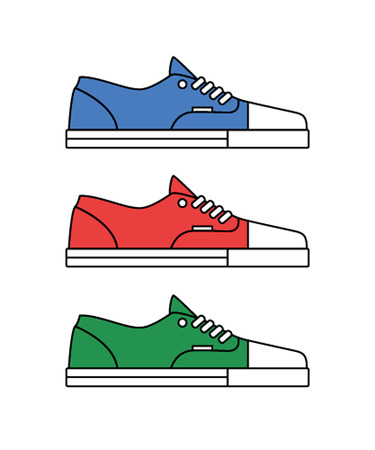 Sneakers icons line. Blue, green and red canvas shoes. Иллюстрация