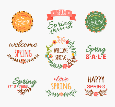 spring: Vintage Spring typography design with labels, icons elements collection