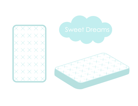 modèle de conception de matelas isolé sur un fond blanc