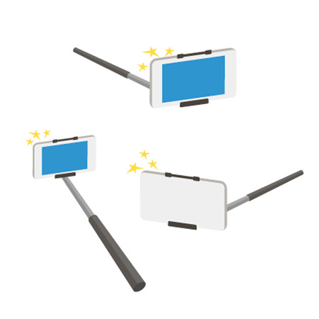 Selfies adhere to a set of icon illustration. Selfie stick on a white background. Selfie stick photo camera isolated. Selfies tools Selfie stick camera. Selfie stick tools from different angles