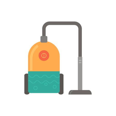 Flat Vector icon - illustration of vacuum cleaner icon, isolated on white. Washing vacuum cleaner.