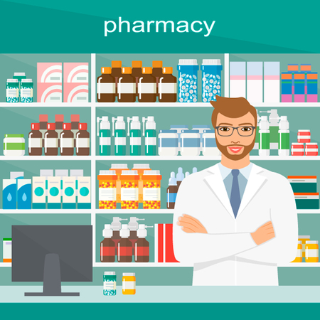 chemist: A Young pharmacy chemist man standing in drugstore. Contemporary style with pastel palette, blue tinted background. Vector flat design illustrations. Horizontal layout. Illustration