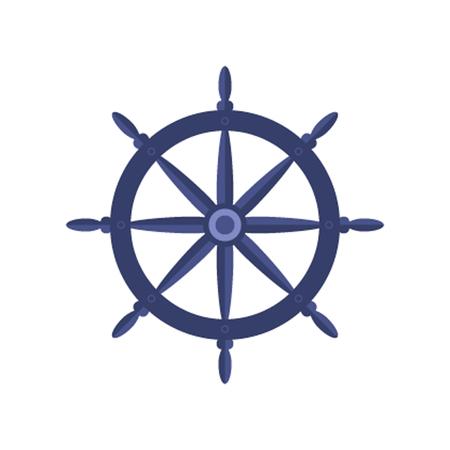 ruder: Yacht Rad Lat Vektor Illustrationen isolieren auf weißem Hintergrund
