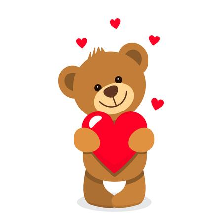 재미 있은 문자 테 디 큰 마음의 발에 들고. 발렌타인 데이의 개념. 평면 벡터 일러스트 레이 션 흰색 배경에 분리 스톡 콘텐츠 - 71066437