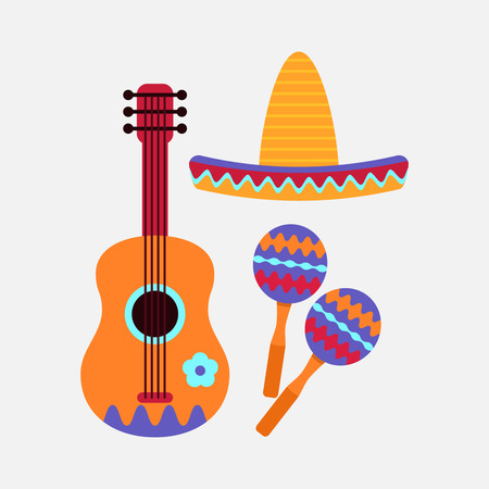 Maracas, sombrero, and guitar. flat vector illustration isolate on a white background Illustration
