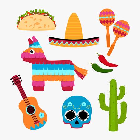 Zestaw symbolu Meksyku w stylu cartoon. Ikony w sieci. Ilustracja wektorowa płaskie izolować na białym tle