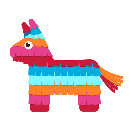 Funny colorful character pinata in a flat style. Vector illustration isolate on a white background Ilustracja