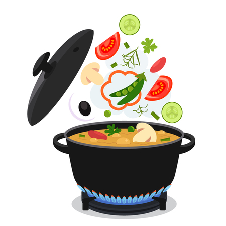 Concetto di cucina. Sulla stufa, far bollire la zuppa. illustrazione piatta vettore isolato su uno sfondo bianco Archivio Fotografico - 71066486