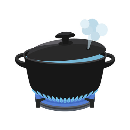 cooking concept. In a pan cooked meal. flat vector illustration isolate on a white background Vettoriali