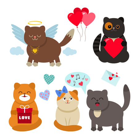 set of funny cats Valentines Day. love concept. flat icons vector illustration.