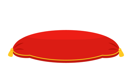 Red royal velvet cushion. flat vector illustration isolate on a white background