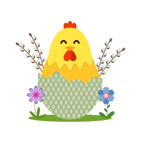 Easter chick with willow and flowers. flat vector illustration isolated on white background
