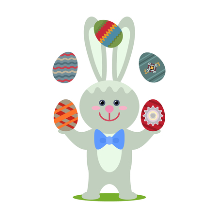 Easter bunny juggling eggs. flat vector illustration isolated on white background Illustration