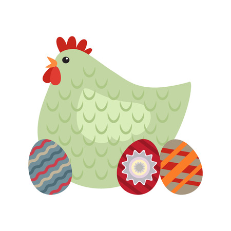 Easter hen and eggs. flat vector illustration isolate on a white background