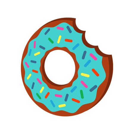 Donut bitten off. flat vector illustration isolate on a white background.