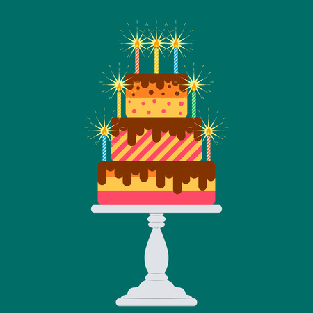 Big cake with candles on the table. flat vector illustration