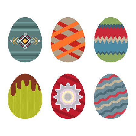 Set of Easter eggs with various patterns. flat vector illustration isolate on a white background