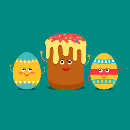 Celebrities Funny Easter eggs and cake. flat vector illustration isolation in a cartoon style. Illustration