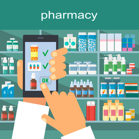 pad: Online pharmacy. Flat vector illustration isolate on a white background
