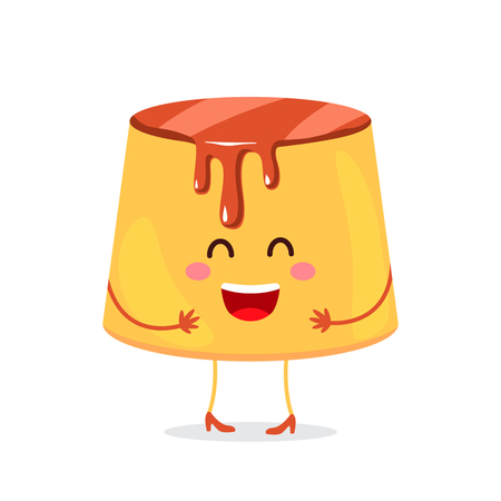 Pudding custard with caramel glaze - a funny character dessert. flat illustration in cartoon style isolated on white background.