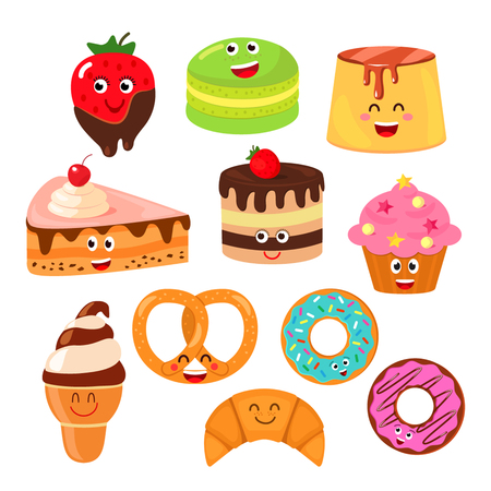 Funny characters desserts: pudding, cake, croissants, ice cream, cake, chocolate covered strawberries, donuts. Set of funny icons. flat vector illustration isolation 向量圖像