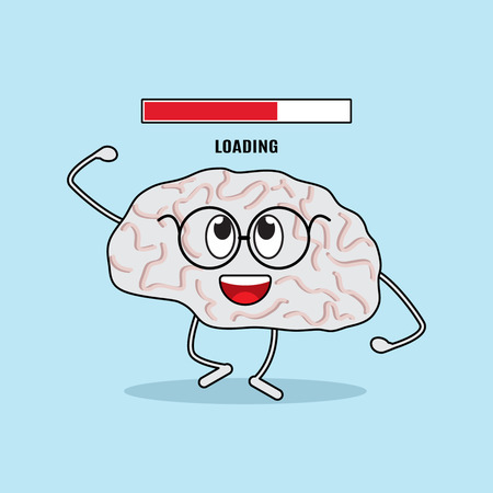 brain works: Funny character of the brain is loaded. The concept of the human brain works in a cartoon style. flat vector illustration