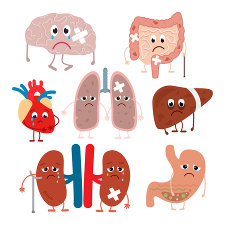 Diseased human organs in a cartoon style. flat vector illustration set. is insulated on white background Illustration