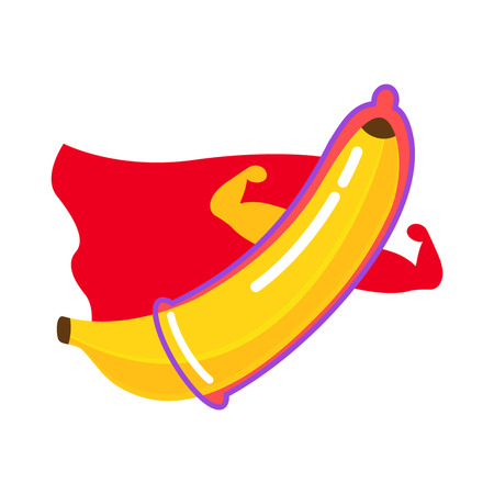 The condom is dressed on a banana. superhero character. flat vector illustration isolate on a white background in cartoon style. Illusztráció
