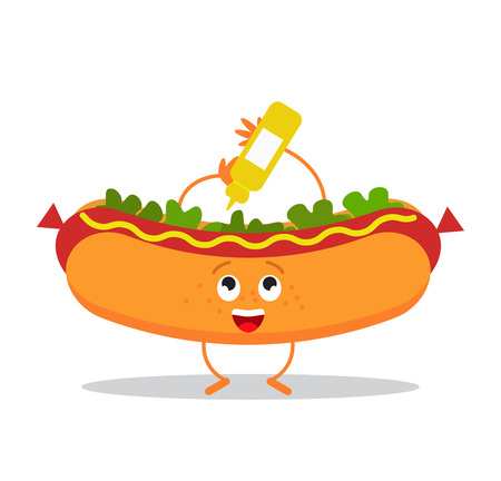 ballpark: Funny hot dog in a cartoon style. flat vector illustration isolate on a white background Illustration