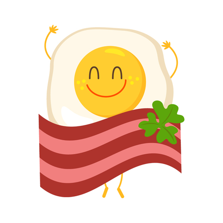 cooked meat: Funny scrambled eggs bacon hid. Flat vector illustration isolate on a white background.