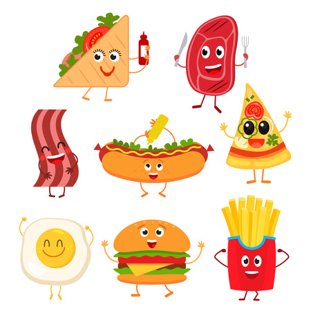 Smiley fast food funny elements vector character. Various collections of emotion fast food characters smile cool steak with bacon hot dog, scrambled eggs, french fries. flat vector.