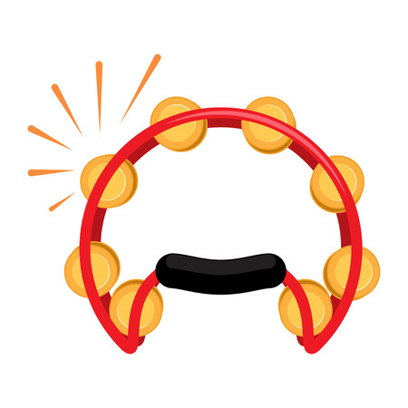 Icon Tambourine in a flat style for the web. vector illustration isolate on a white background Illustration