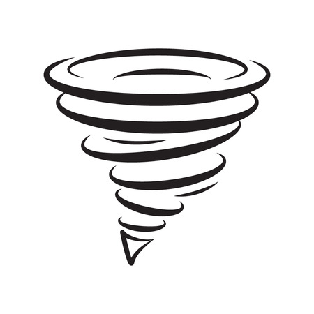 Icon tornadoes in the linear flat style. vector illustration isolate on a white background Stock Illustratie