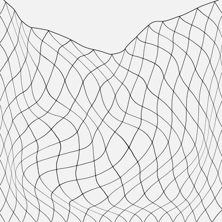 Net vissen in de oceaan. platte vectorillustratie geïsoleerd. Stock Illustratie