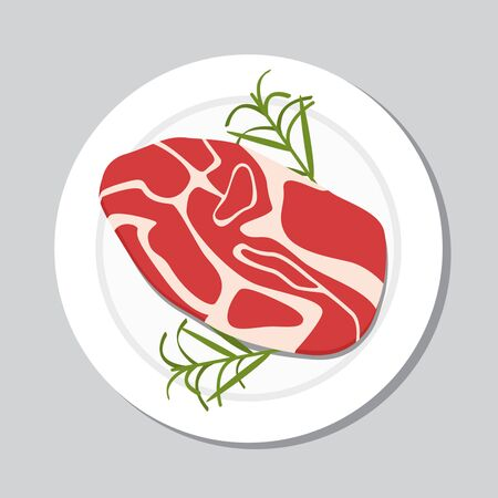 Fresh steak icon in a flat style. vector illustration in cartoon style isolation on a white background. Illustration