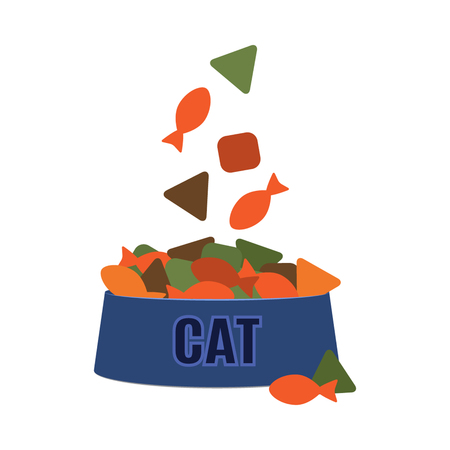 A bowl full of cat food. flat vector illustration isolate on a white background.