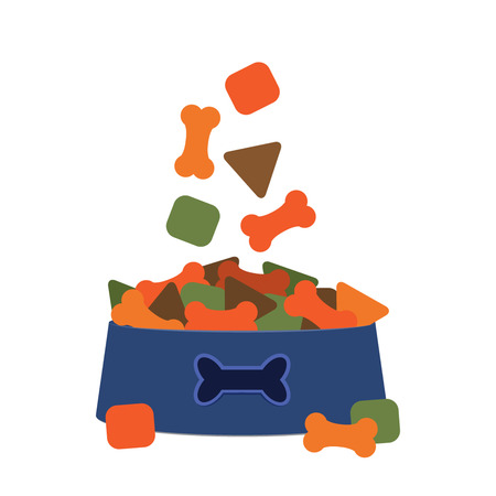 detailed image: A bowl full of cat food. flat vector illustration isolate on a white background.