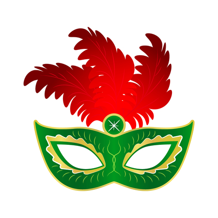 Carnival mask with feathers. flat vector illustration isolate on a white background