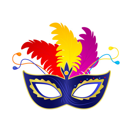 paper mache: Carnival mask with feathers. flat vector illustration isolate on a white background