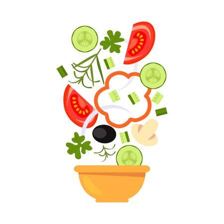 Flying salad vegetables in a flat style. Vector illustration Illustration