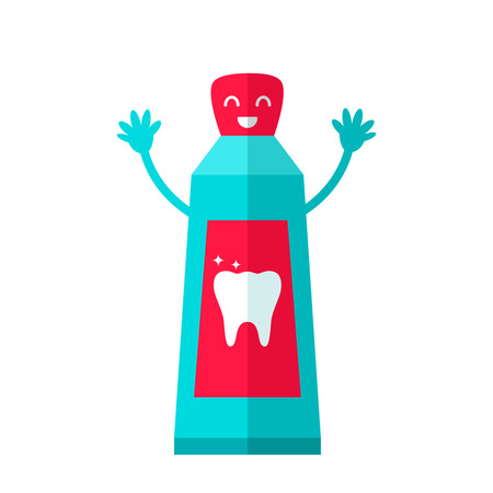 creme: Toothpaste Icons in cartoon style. flat vector illustration isolate on a white background Illustration