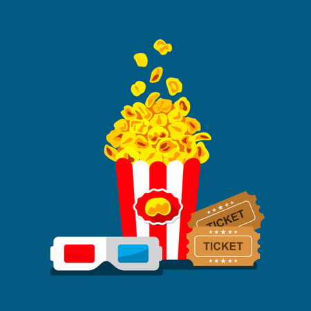 roll curtains: flat 3d movie poster. popcorn, glasses, tickets - the concept of cinema. easy to use