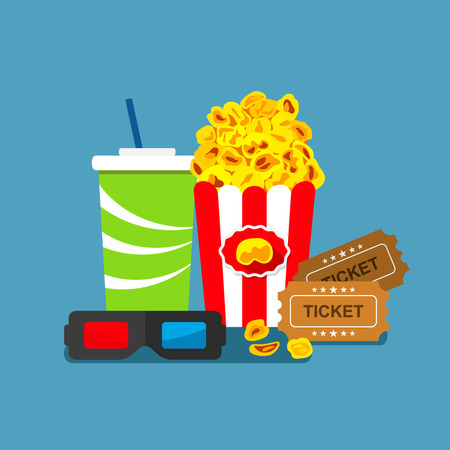 flat 3d movie poster. popcorn, glasses, tickets - the concept of cinema. easy to use
