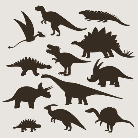 pterodactyl: set of different silhouettes of dinosaurs. flat vector